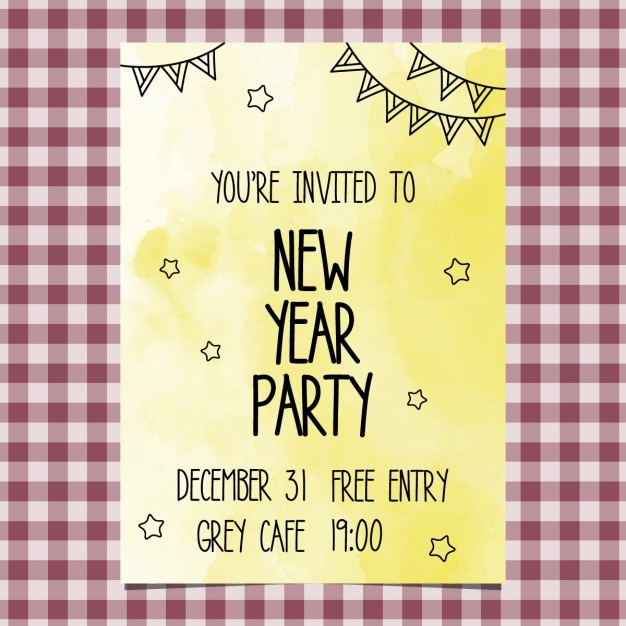 Yellow watercolor new year invitation Free Vector