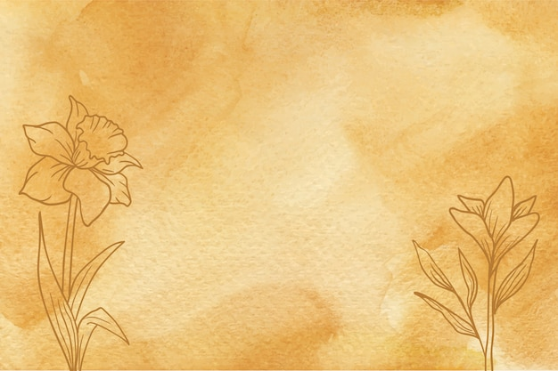 손으로 그린 꽃 배경 노란색 수채화 텍스처 프리미엄 벡터