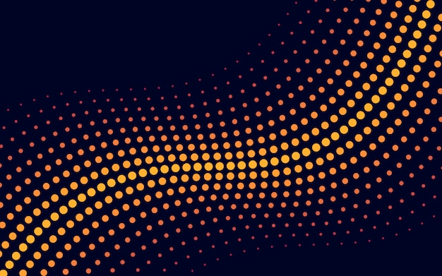 Yellow wave halftone background vector Free Vector