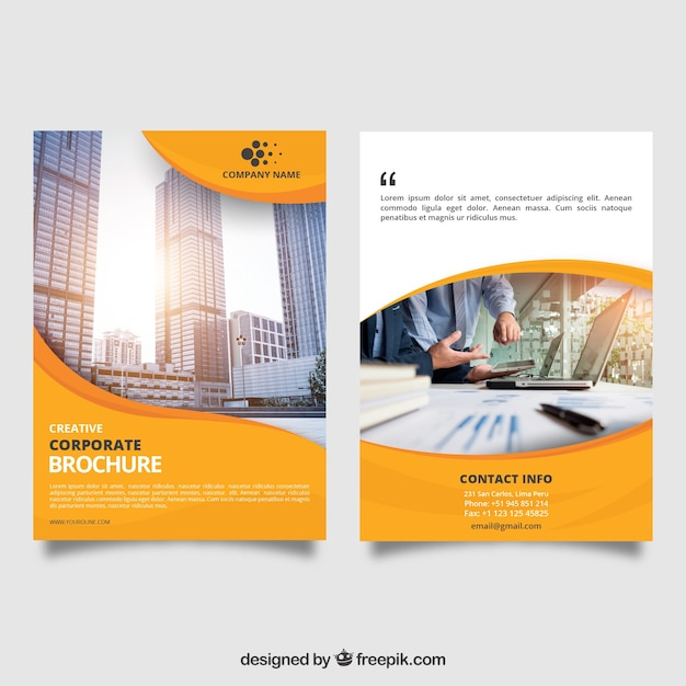Yellow wavy business brochure Free Vector