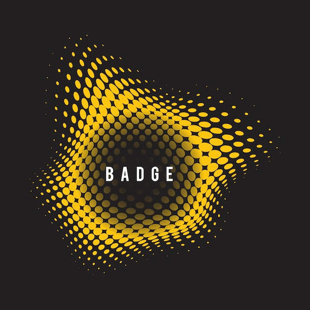 Yellow wavy halftone badge on black background Free Vector