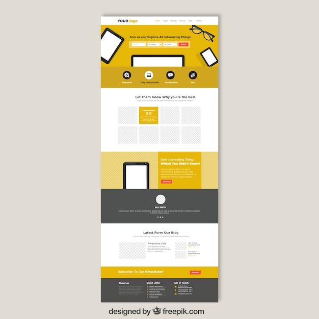 Sutes That Are Yellow: Yellow Website Template Vector