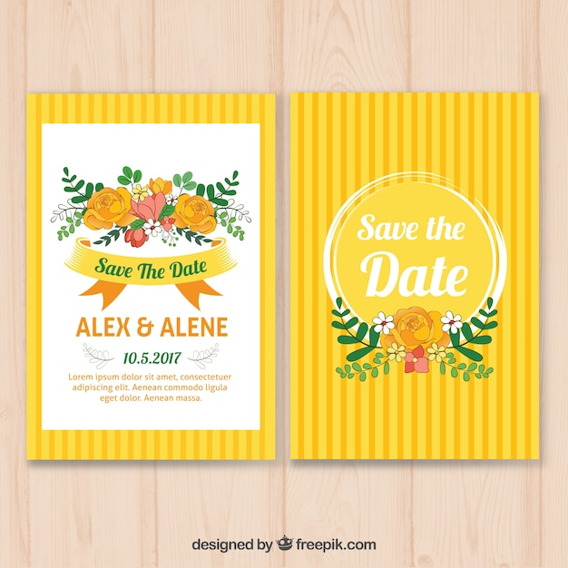 Yellow wedding invitation with floral\ decoration