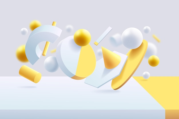 Yellow and white futuristic 3d background Free Vector