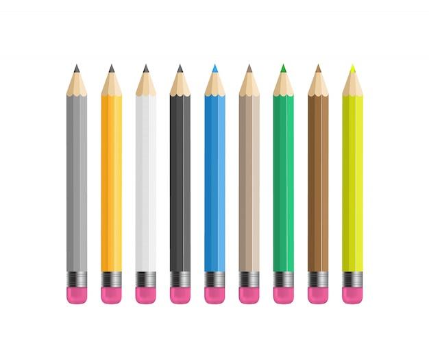Yellow wooden sharp pencils Premium Vector