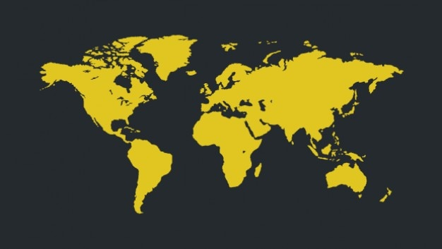 yellow world map for infographic vector free download