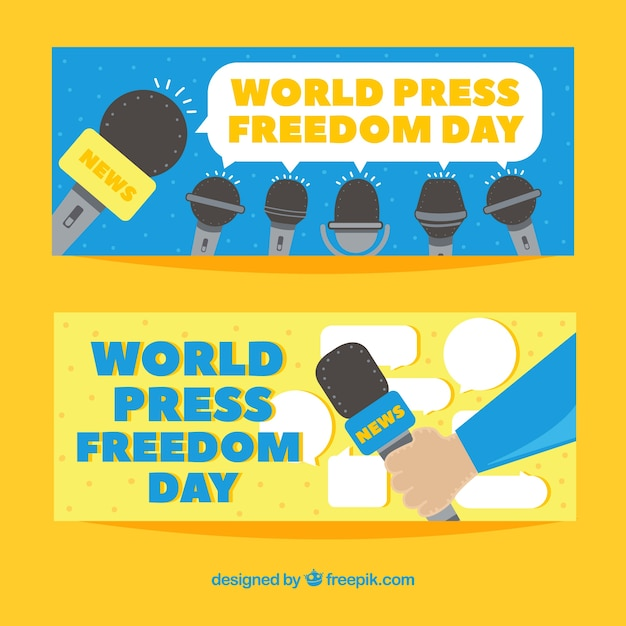Yellow world press freedom day banners