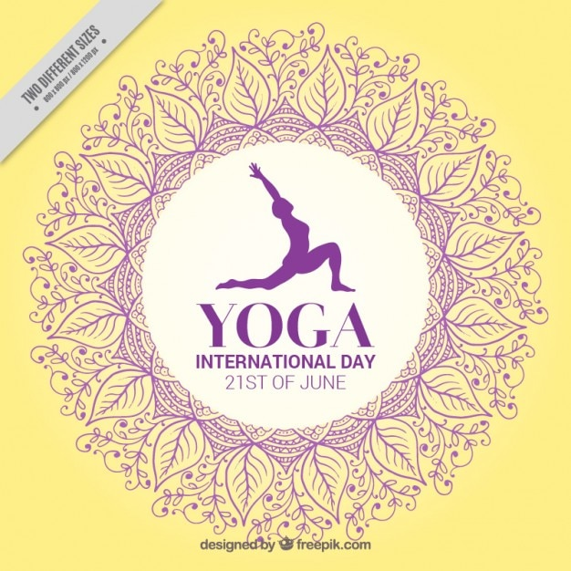 Yellow yoga day background