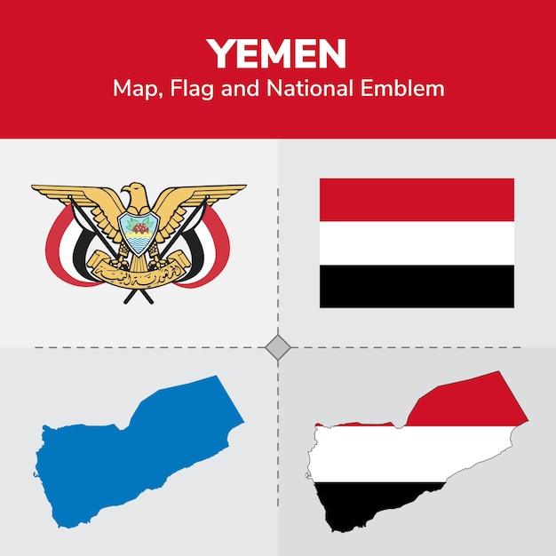 イエメンの地図、国旗 Premiumベクター