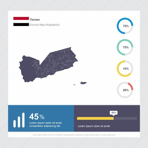 イエメン地図とフラグインフォグラフィックステンプレート 無料ベクター