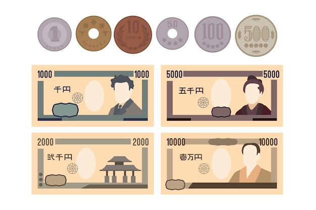 Yen banknote and coin collection Free Vector