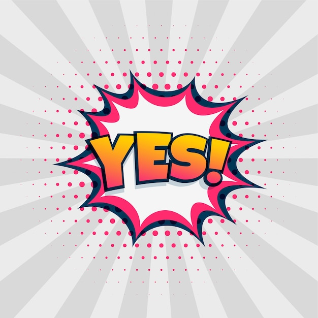 Yes chat expression in comic style design Free Vector