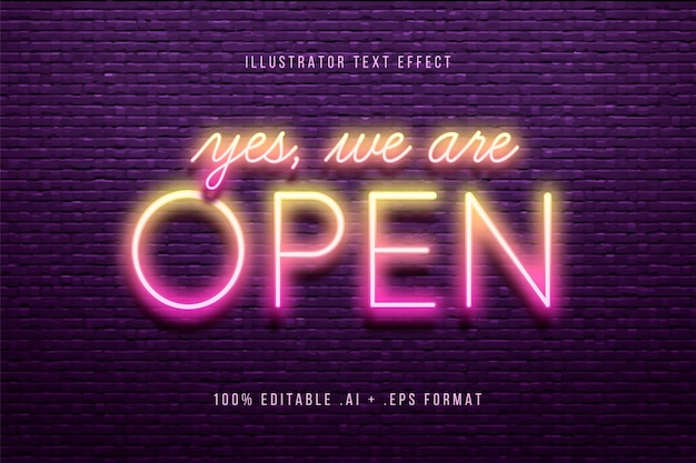 Yes we are open text effect Free Vector