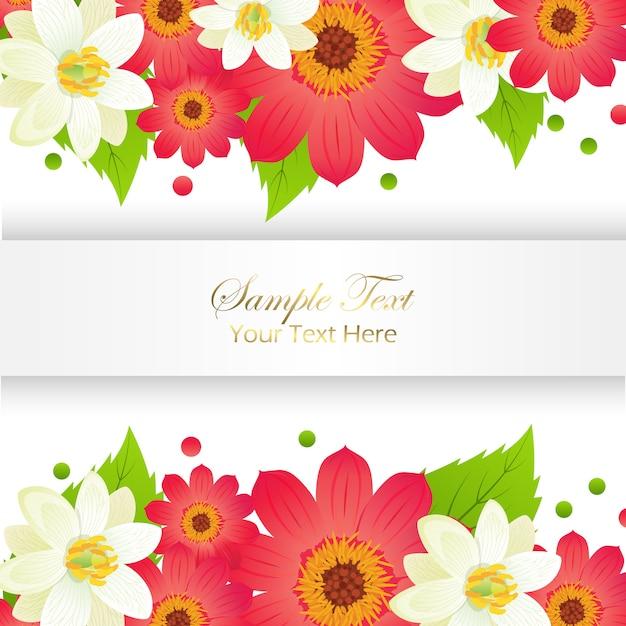 ここでサンプルyextここで光沢のあるフレームと花セットappy休日グリーティングカード Premiumベクター