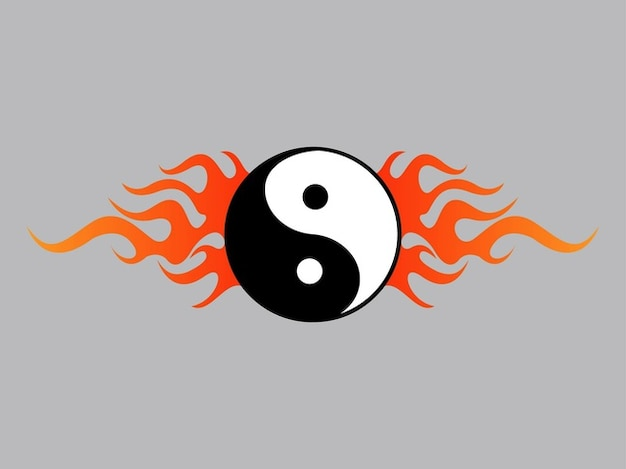 Yin yang graphic with flames Free Vector