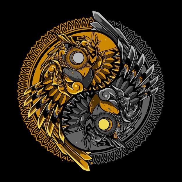 陰陽フクロウの落書きのイラストとtshirtのデザイン Premiumベクター
