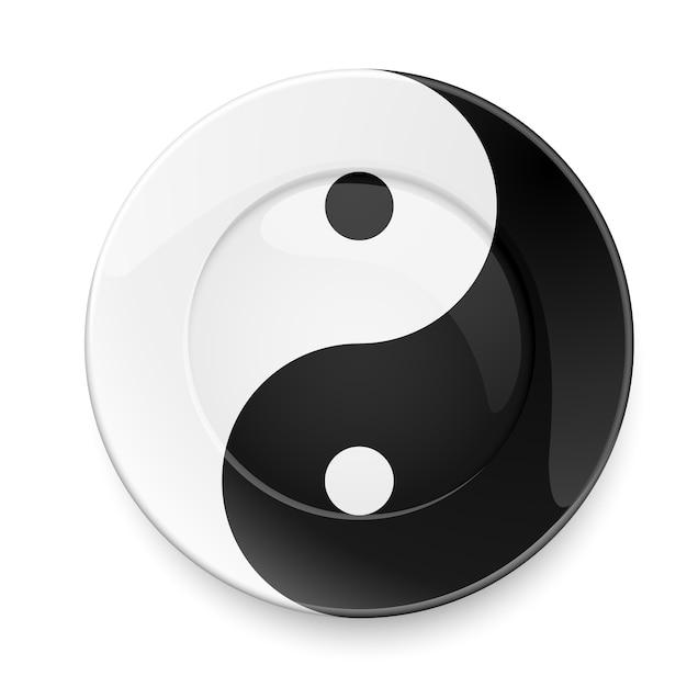 Yin yang plate Premium Vector