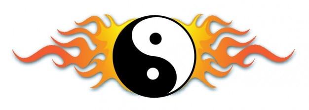 Yin yang symbol with flames Free Vector