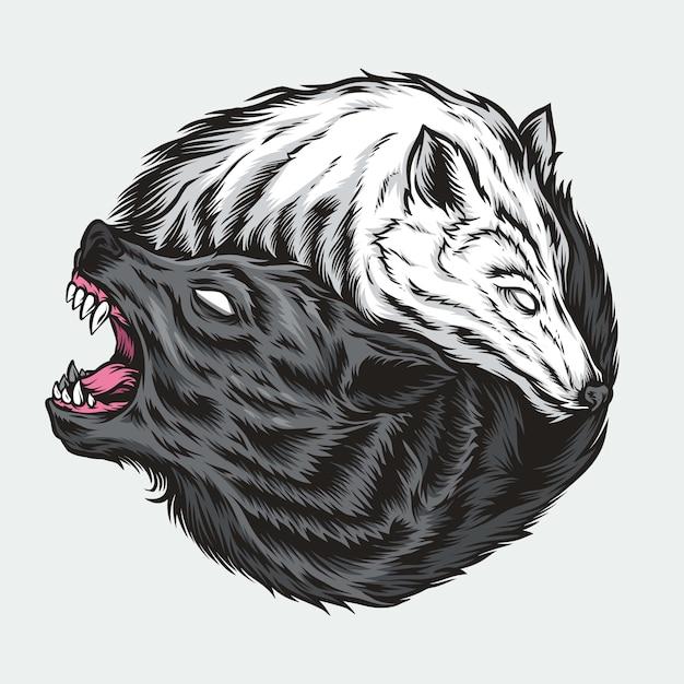 Yin yang wolf illustration Premium Vector