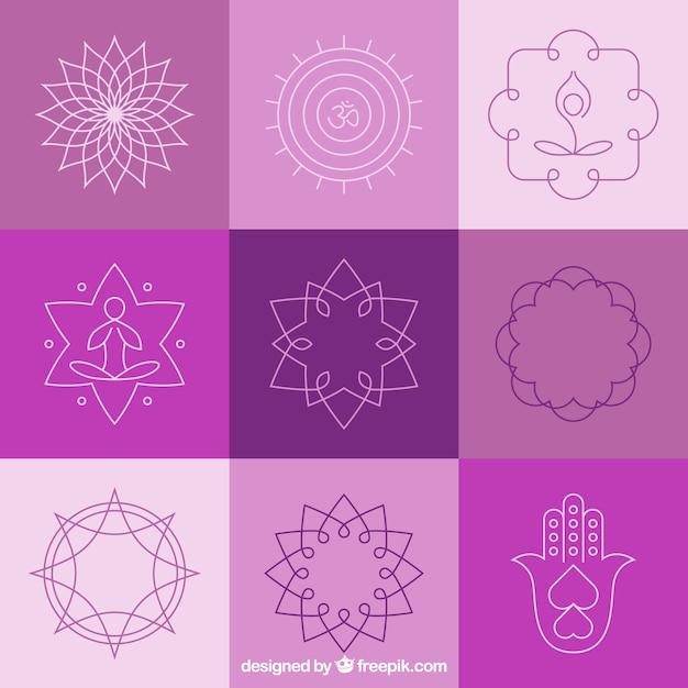Yoga abstract badges and symbols Free Vector