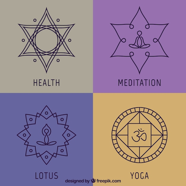 Yoga abstract emblems