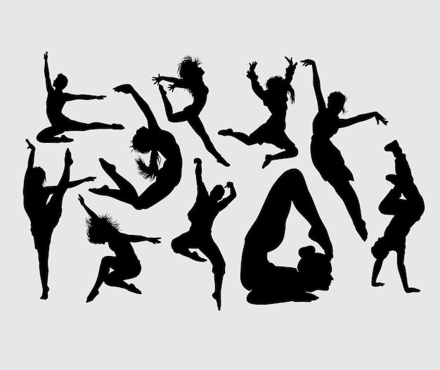 Yoga acrobat and dance male and female silhouette Premium Vector
