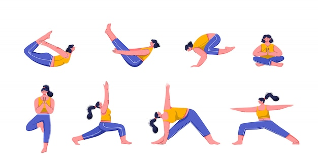 Yoga Asanas Practice In Yoga Poses Young People Train Balance Meditate And Relax At Yoga Class Vector Illustration Woman Characters Practicing Pilates Isolated Premium Vector
