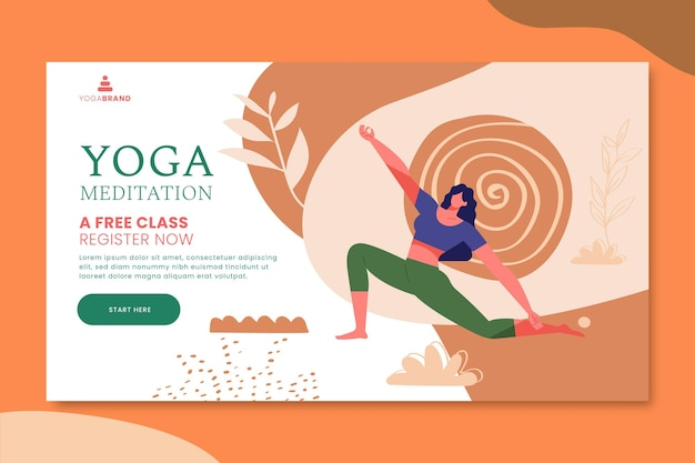 Tema del modello di banner yoga Vettore gratuito