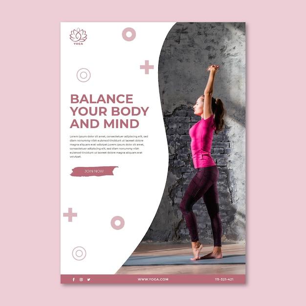 Poster di equilibrio del corpo yoga Vettore gratuito