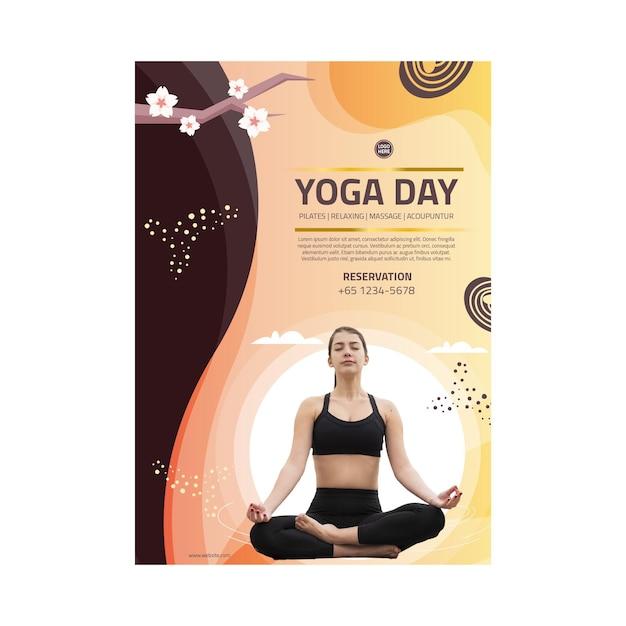 Yoga body balance poster Free Vector