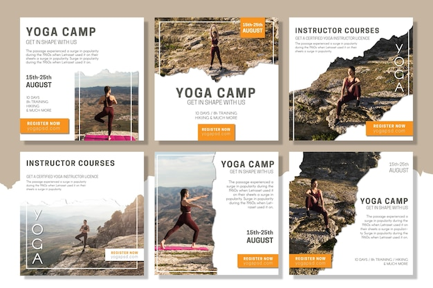 Yoga camp instagram post template Premium Vector