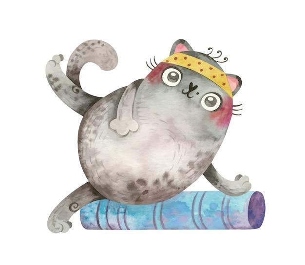 Yoga cat cute sports character Free Vector