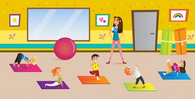 Yoga center for development children cartoon. Premium Vector