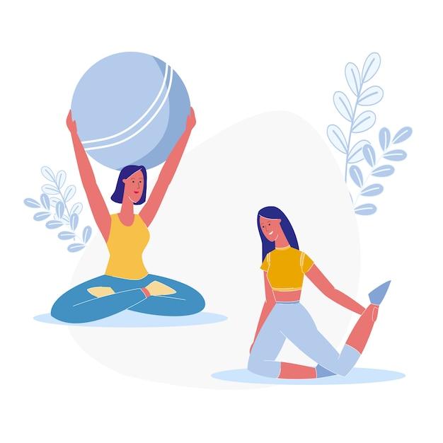 Йога класс, фитнес-упражнения векторные иллюстрации | Премиум векторы