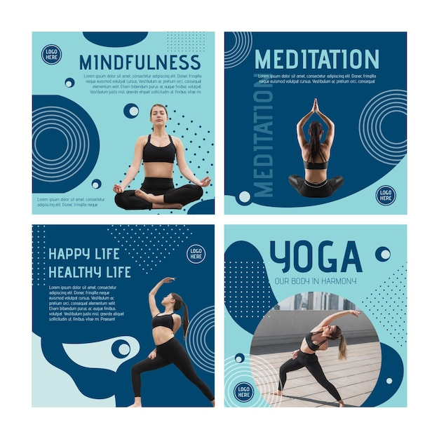 Yoga class instagram posts template with photo Premium Vector