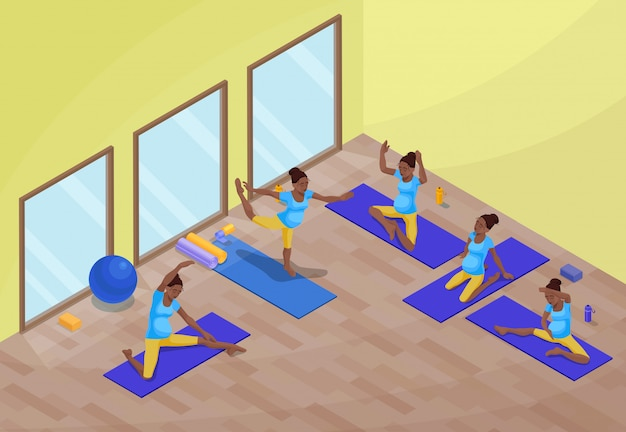 Yoga class interior with pregnant african woman Premium Vector