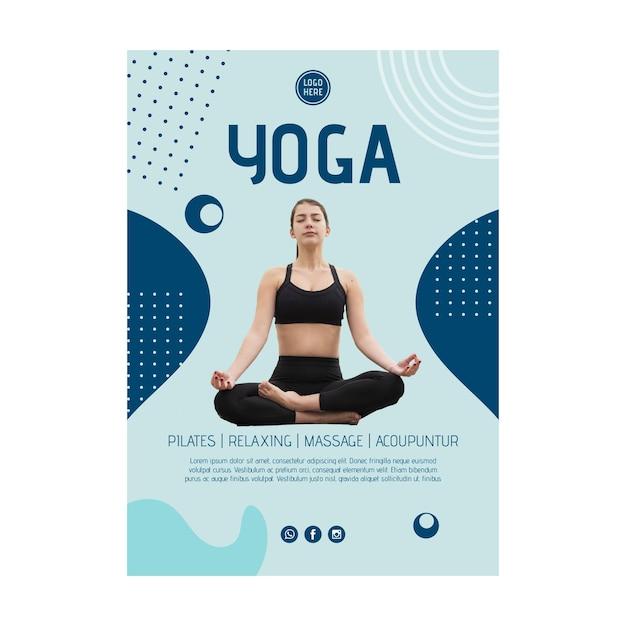 Шаблон плаката класса йоги с фото Бесплатные векторы