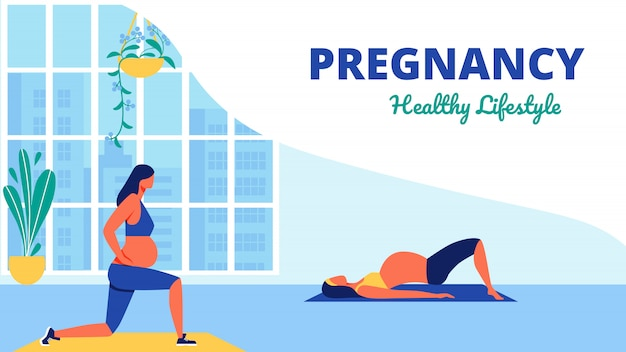 Yoga class for pregnant women healthy lifistile Premium Vector