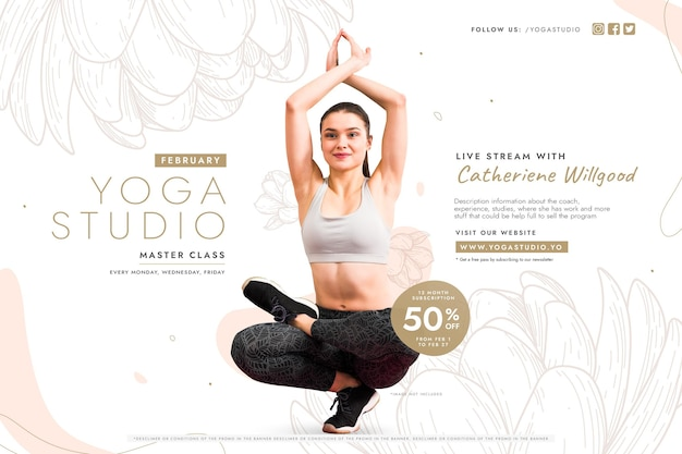 Yoga class sale with woman Free Vector