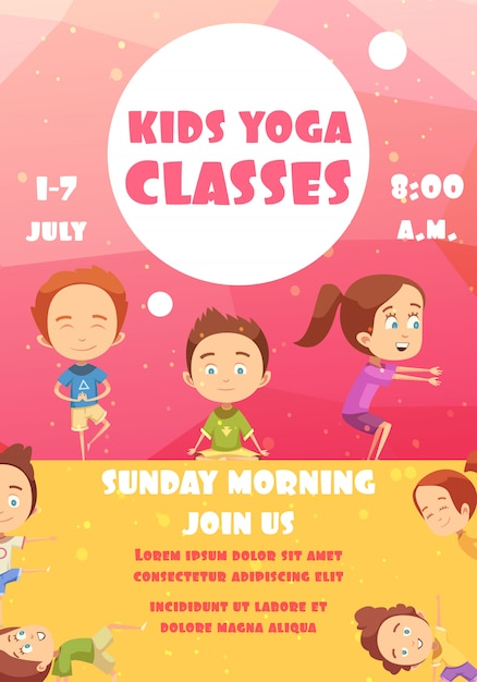 Yoga classes for kids advertising poster Free Vector