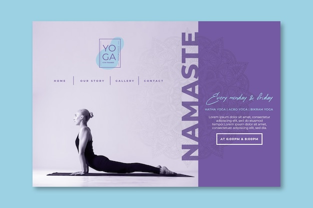 Yoga classes landing page template Premium Vector