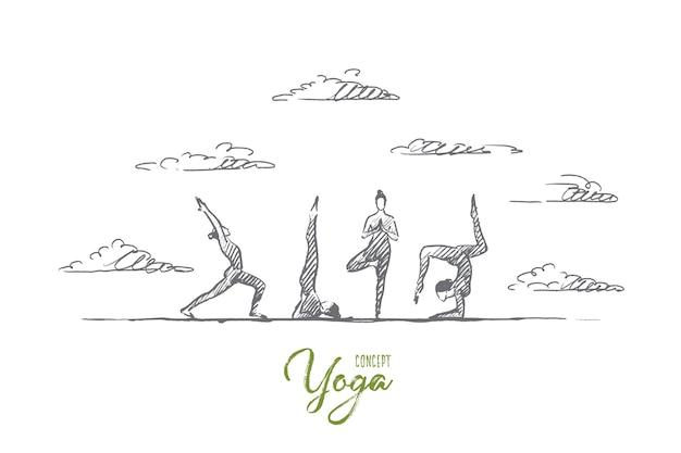 요가 개념. 손으로 그린 요가 연습 운동 클래스. 요가 야외 격리 된 그림을 연습하는 사람들. 프리미엄 벡터