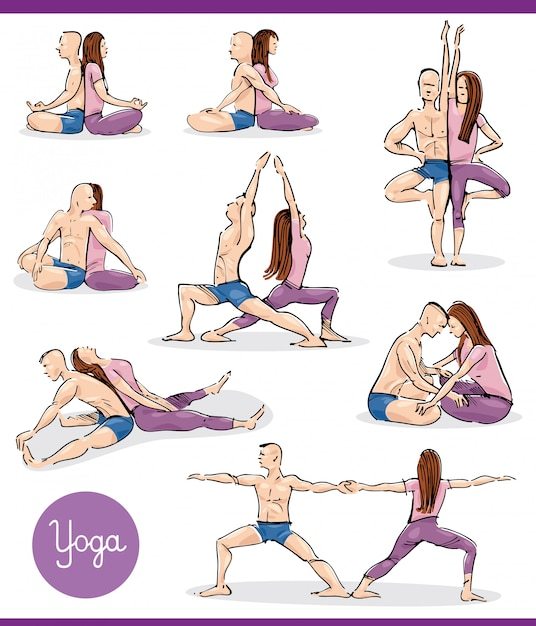 Yoga in couple illustration set Premium Vector