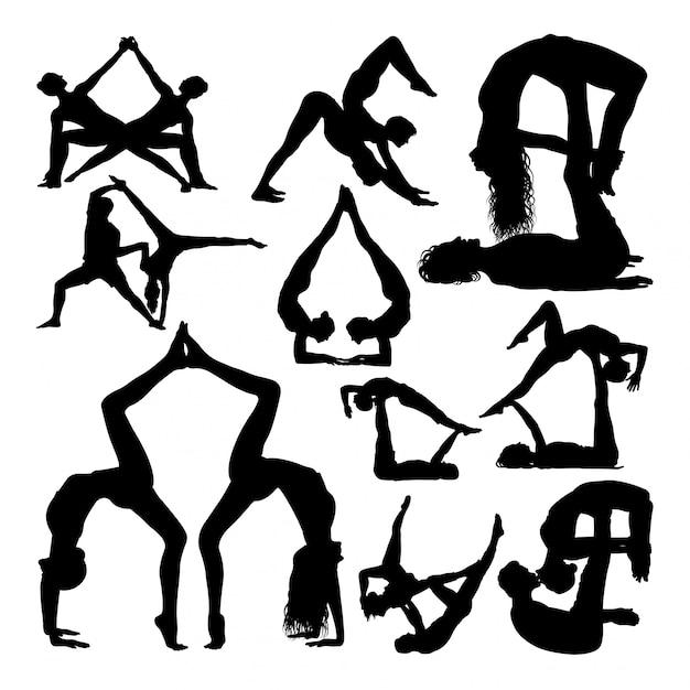 Йога пара создает силуэты. Premium векторы