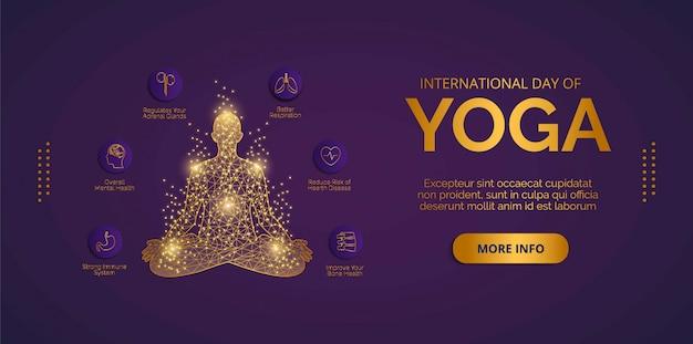 День йоги 21 июня вектор. дизайн векторов для баннеров, фонов, плакатов или открыток. Premium векторы