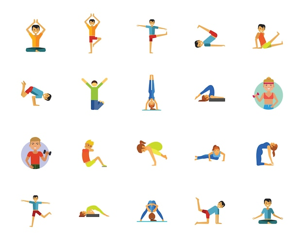 Yoga, fitness and health icon set