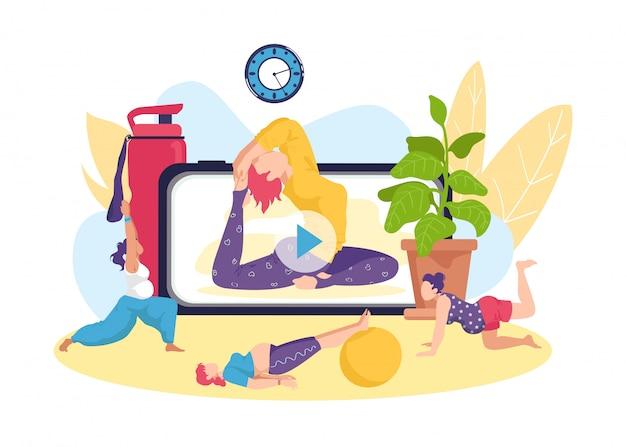 임신 한 여성을위한 요가 피트니스 운동, 온라인 건강 활동 그림. 스포츠 훈련 라이프 스타일, 어머니 산전 운동으로 임신 건강. 출산 개념. 프리미엄 벡터