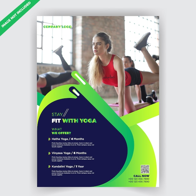 yoga fitness flyer design template vector premium download