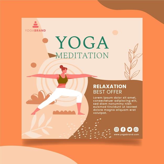 Disegno del modello di volantino yoga Vettore gratuito