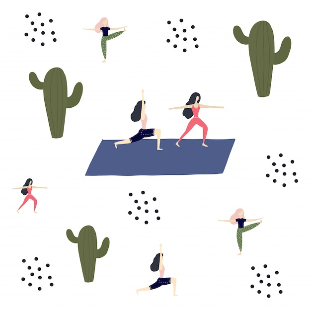 Yoga girl, cactuses and calm Premium Vector